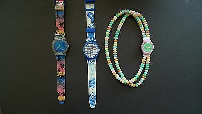 Lot of Swatch Watches 3 watches with various designs excellent condition