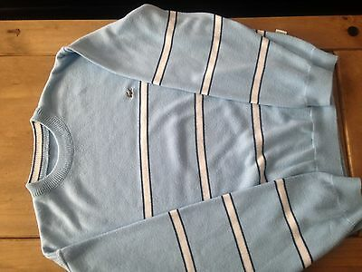 Lacoste Mens Jumper Size L Blue And White