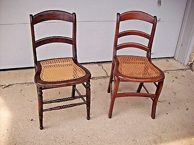 Antique Dining Room Chair Pair of Cane Seats Traditional Style