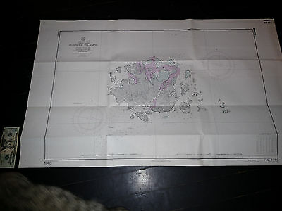 Antique Vintage US Navy Nautical Chart Aeronautical Map Russell Islands Pacific