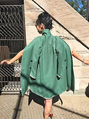 XS-S Reversible 1960's Double Breasted Swing Coat Cape Vintage Retro Mod Twiggy