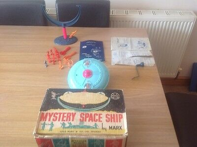 Vintage 1960's Marx Mystery Space Ship Gyro Toy With Original Box & Figures