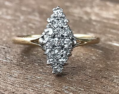 Antique Victorian Cluster Diamond Ring 18ct/18K Gold, Size 5 Size J