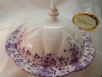 Dainty Mauve Daisy   Muffin / Butter Dish With Lid    * * *  Mauve Trim   - Wow!