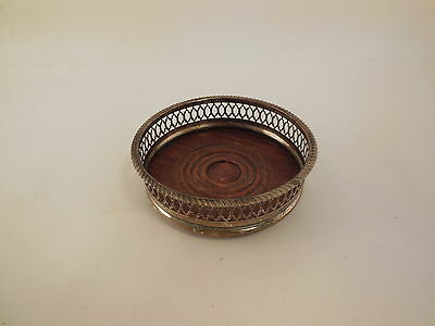 Vintage Silver & Wood CHAMPAGNE/WINE Bottle Coaster