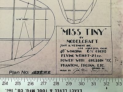"""Airplane Plans MISS TINY - GIANT 46"""" Wing Span R/C Scale Model Ohlsson 23 Engine"""
