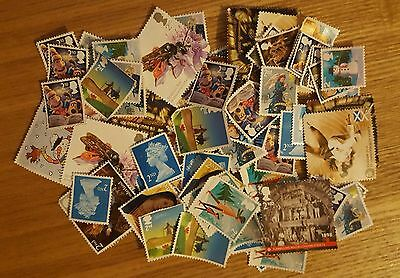 100 x 2ND SECOND CLASS UNFRANKED OFF PAPER NO GUM STAMPS WITH MINOR FAULTS
