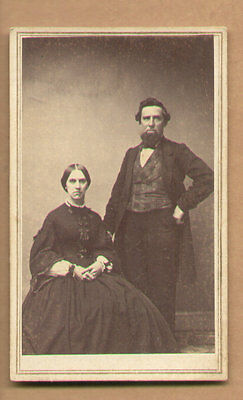 CDV Photo 1860 Couple ID'ED Aunt Hannah Brown Hunt-Husband, T.J. Seco, Phelps NY