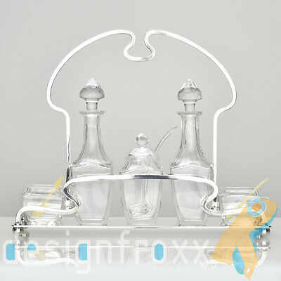 Antique WMF Art Nouveau Secessionist Cruet Stand Silverplated w Crystal Liners