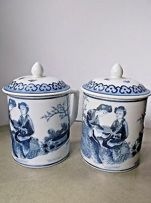 Vintage Blue and White Oriental Mugs with Lids Marked