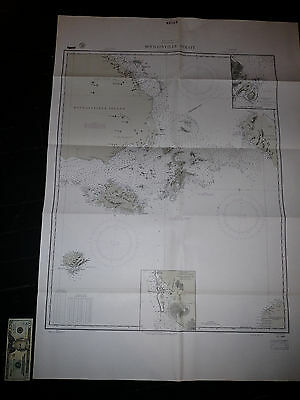 Antique Vintage US Navy Nautical Chart Aeronautical Map  Bougainville Strait Pac