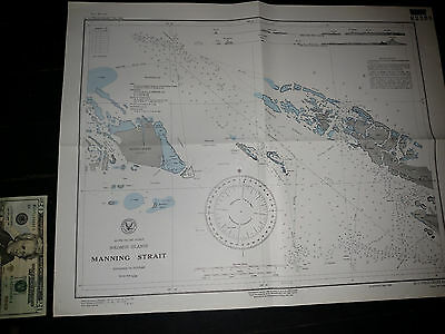 Antique Vintage US Navy Nautical Chart Aeronautical Map  Manning Strait Pacific