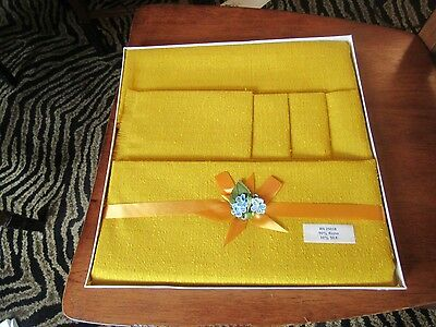 Vintage Table cloth and 5 napkins Rayon in original box