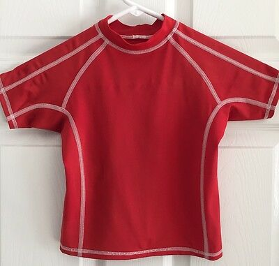 LANDS' END 2T BABY Toddler Boys UV RASH GUARD Shirt Red