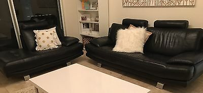 Nick Scali 2.5 Seater + 2 Seater Chaise Black Leather Lounge