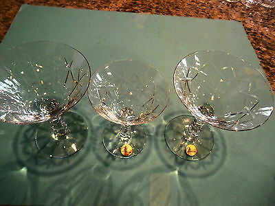 Three Vintage Duncan & Miller Champagne Cordials Cocktail ,thin Elegant Glass