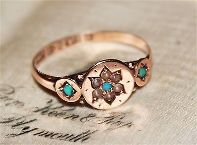 Victorian antique 9 ct rose gold seed pearl & turquoise ring 1882 1.4g size P