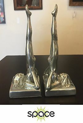 Pair Of Sarsaparilla 1985 Art Deco Chrome Nude Lady Bookends Frankart Nuart