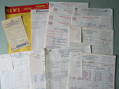 26 Old 1950's-60's Bills Receipts Gas Station Esso Texaco Imperial Oil Etc