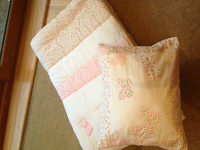 Laura Ashley Bella butterfly thin quilt and matching cushion
