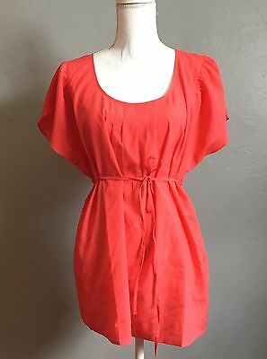 Motherhood Maternity Pleated Neck Round Neck Coral Flowy Blouse Size Large NWT