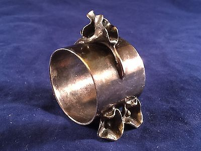 Vintage Silver Plated Decorative Napkin Ring Roll, Roses Appears Silverplate