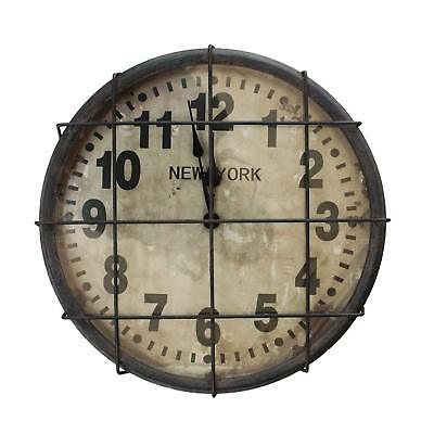 """Antique Distressed Caged Metal New York NY Factory Round Wall Clock 15"""""""