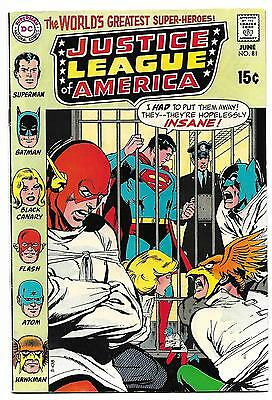JUSTICE LEAGUE OF AMERICA #81 VF 8.0 Higher Grade Neal Adams cover