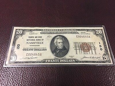 $20 Nashville Tennessee Fourth & First National Bank Charter 150