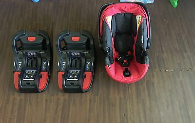 Britax B-Safe 35 Adjustable Infant Baby Safety Car Seat red with two bases