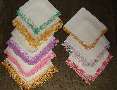 9 Ladies Handkerchiefs 3 tatted edges, 6 lace edges
