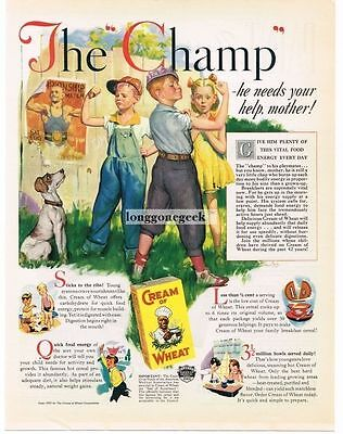 1937 Cream Of Wheat Cereal The Champ art by Harry Anderson Vtg Print Ad