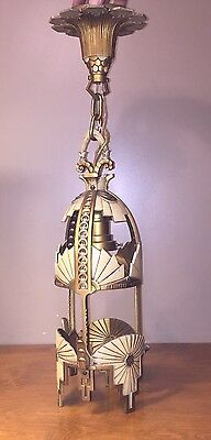 Vintage Art Deco Beardslee Cast Aluminum Chandelier -L2  ONE DAY AUCTION