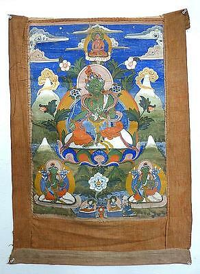 18Th Century  Tibetan Thangka - The Green Tara - Very Good Condition