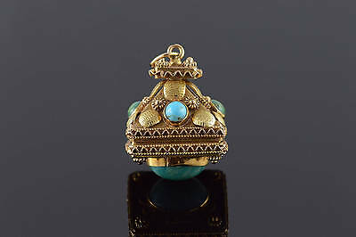 18K Victorian Turquoise Ornate Locket Watch Fob Pendant Yellow Gold *85