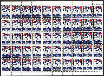 Poland-1941 Sheet Wwii Red Cross Propaganda Labels Mnh ( 7 )