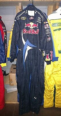 """Red Bull Nascar race used 1pc pit crew firesuit C:46"""" W:36"""" In:33"""" Speed/Vickers"""