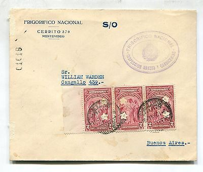 URUGUAY OFFICIAL COW FOOD cover to ARGENTINA PERFIN STAMP # 4328
