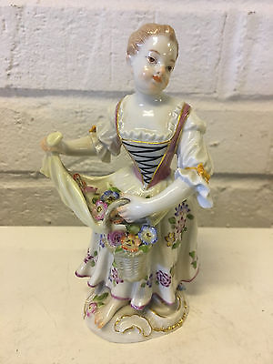 Antique German Meissen Porcelain Figurine of a Girl Carrying Flowers