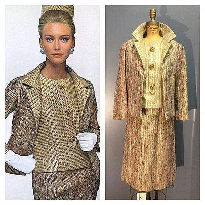 DOCUMENTED CHRISTIAN DIOR 1960's Vintage 1960s Gold Lame Metallic Skirt Suit M L
