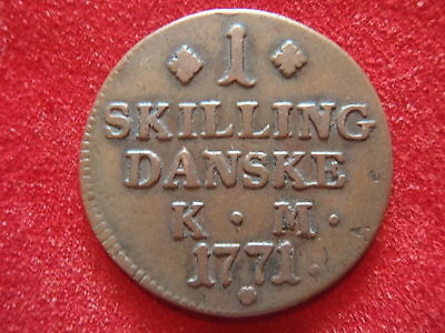 Denmark - 1771 - 1 Skilling - Christian Vii - Very Nice Condition -246 Years Old