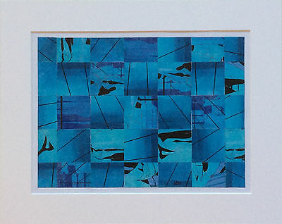 Collage von Norbert Herzog, Modern Art, abstrakt, blau, modifiz-art