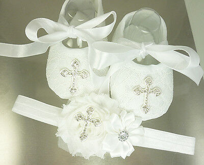 Baby White Lace Christening Shoes and Headband Set, Baptism Shoes, USA, Instock