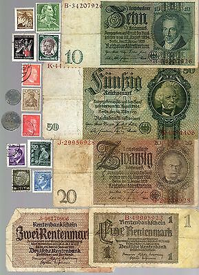Nazi Banknote, Coin And Stamp Set # 62