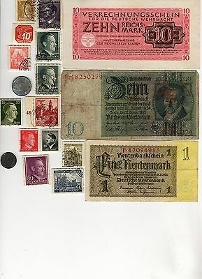 Nazi Germany Banknote, Coin And Stamp Set  # 122