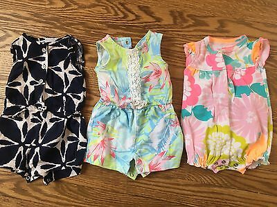 lot of 3 Carters baby girl rompers size newborn EUC