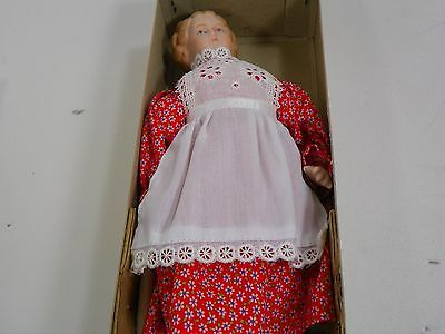 """Shackman Doll Bisque Antique Replica Pinafore Collectors 9"""" Blue Eyes Red Dress"""