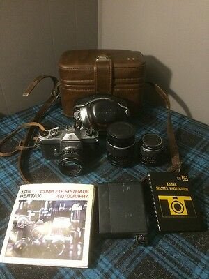asahi pentax spotmatic f 35mm Camera Kit 3 Lens 2 Cases Flash Book Must See!!!