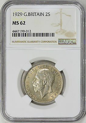 1929 Great Britain Silver 2 Shillings / Florin - Ngc Ms62 (17-0165)