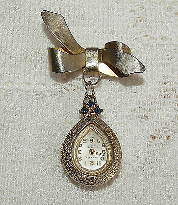 "Vintage ""dynasty"" Goldtone 17 Jewels Swiss Nurses' Pin Watch With Sapphires"